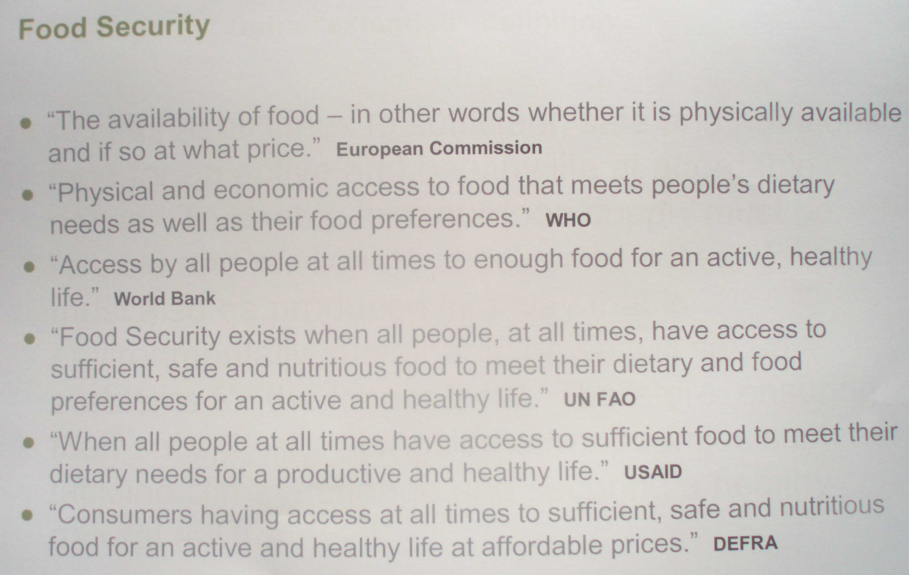 Food Security Definitions